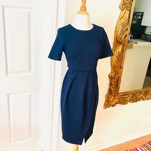 ASOS NAVY DOUBLE TOP LAYERED DRESS